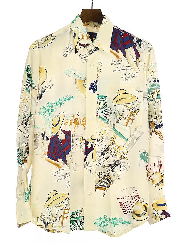 【中古】Polo by Ralph Lauren ポロ バイ ラルフローレン 80's 総柄シルク長袖シャツ アイボリー 8 メンズ