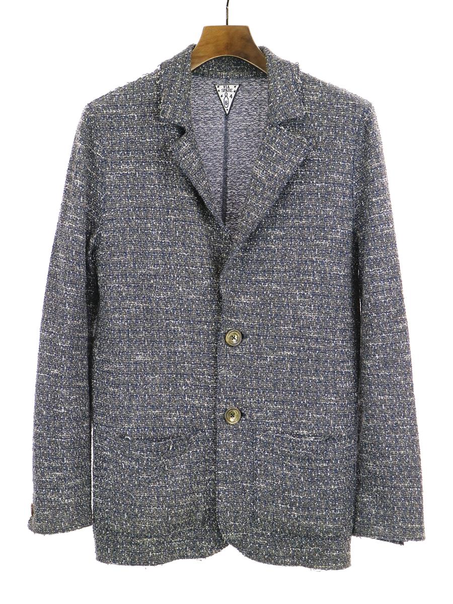 【中古】VIA SPARE ヴィアスペア サマーツイードスウェットジャケット グレー 4 メンズ