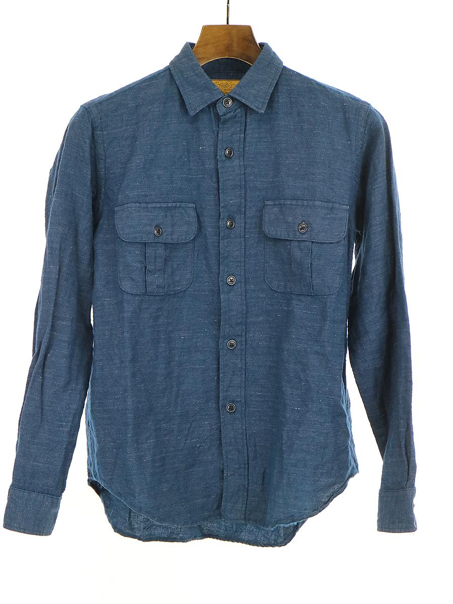 【中古】BROWN by 2-tacs ブラウンバイツータックス B11-S004 FLAP POCKET SHIRTS フラップポケットシャツ インディゴ S メンズ