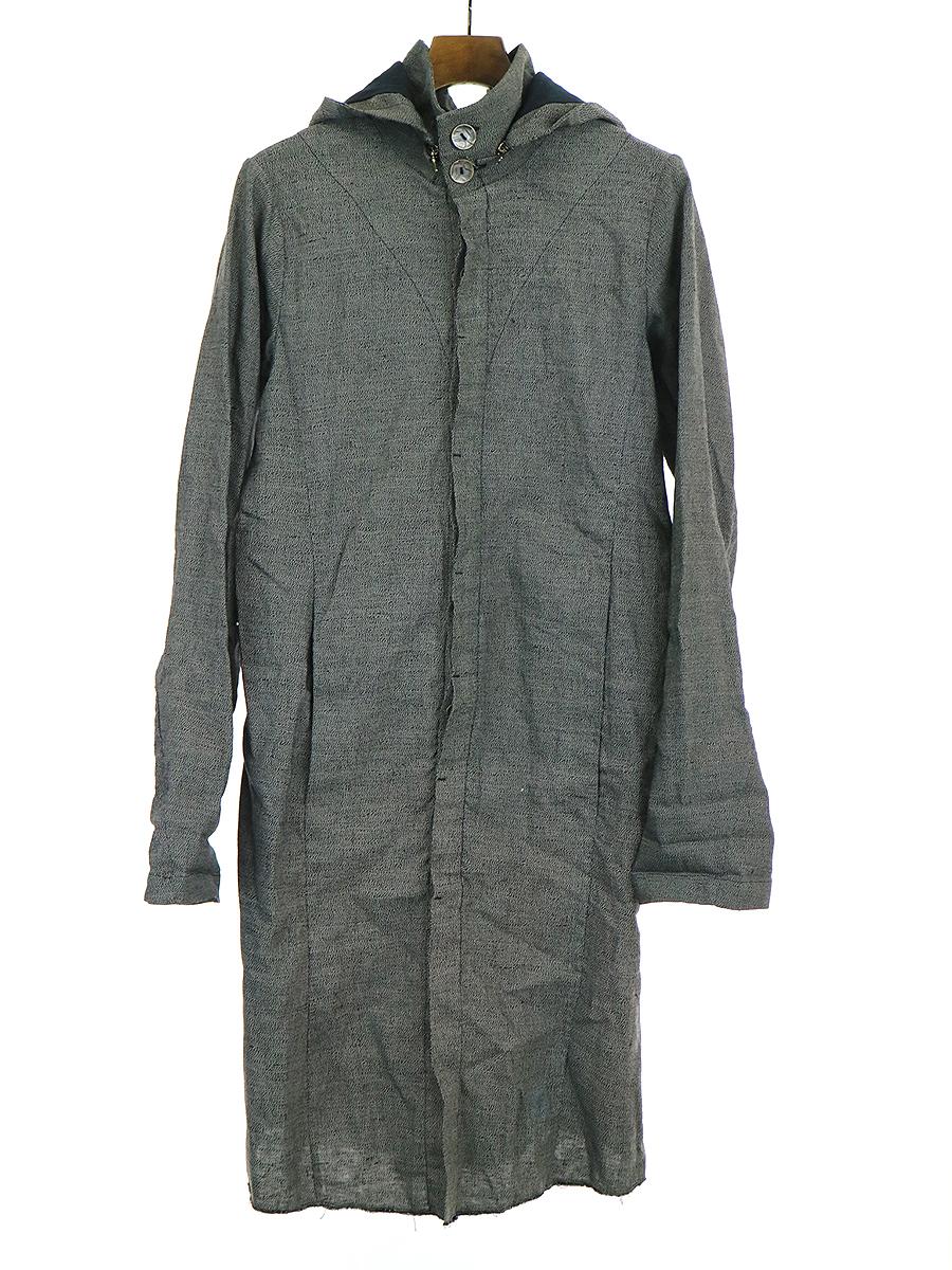 【中古】ZAM BARRETT ザムバレット フーデットロングジャケットコート グレー 46 メンズ