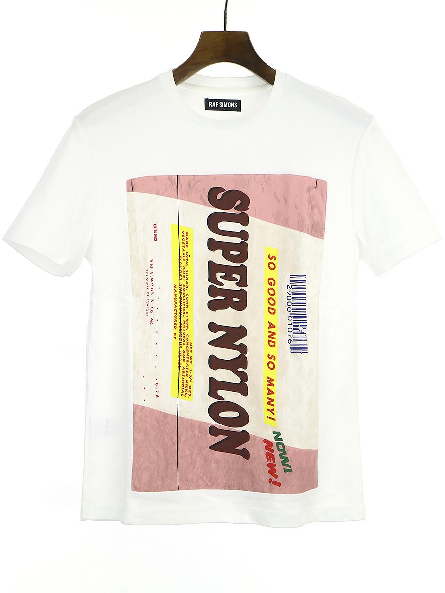 【中古】RAF SIMONS ラフシモンズ 14SS SUPER NYLONプリントパッチTシャツ ホワイト XS メンズ