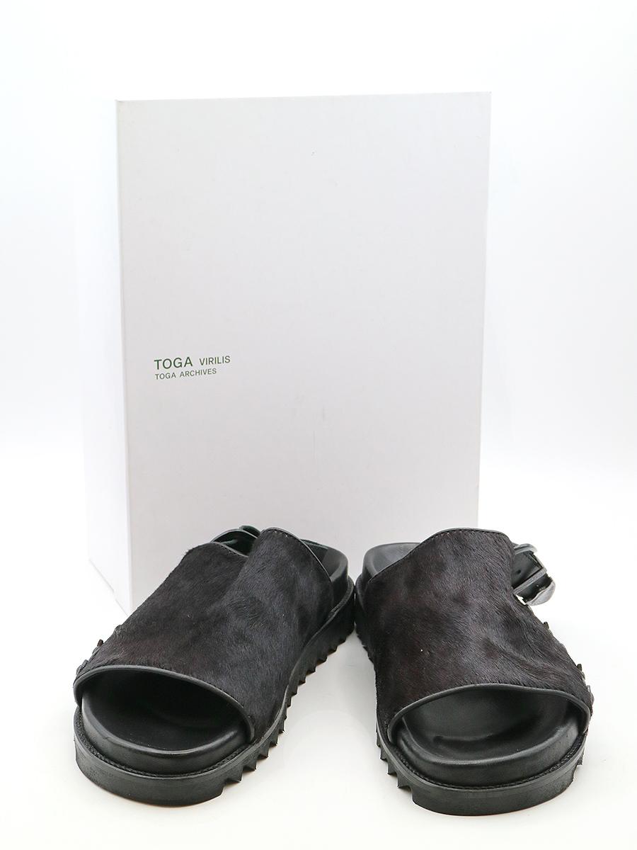 【中古】TOGA VIRILIS トーガ ビリリース ハラコバックルデザインサンダル ブラック サイズ表記無し(27cm程度) メンズ
