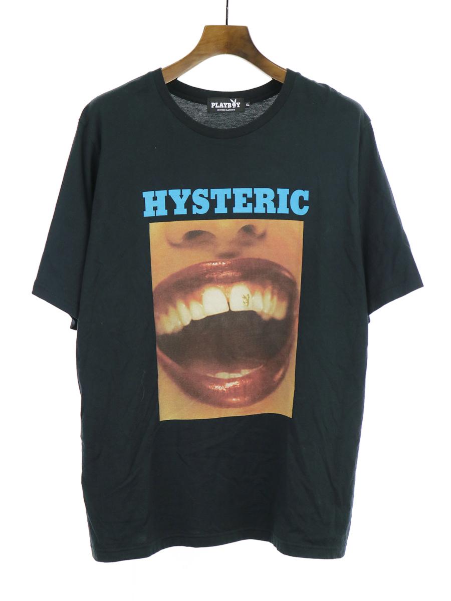 【中古】HYSTERIC GLAMOUR ヒステリックグラマー × PLAY BOY プレイボーイ 19SS プリントTシャツ ブラック XL メンズ