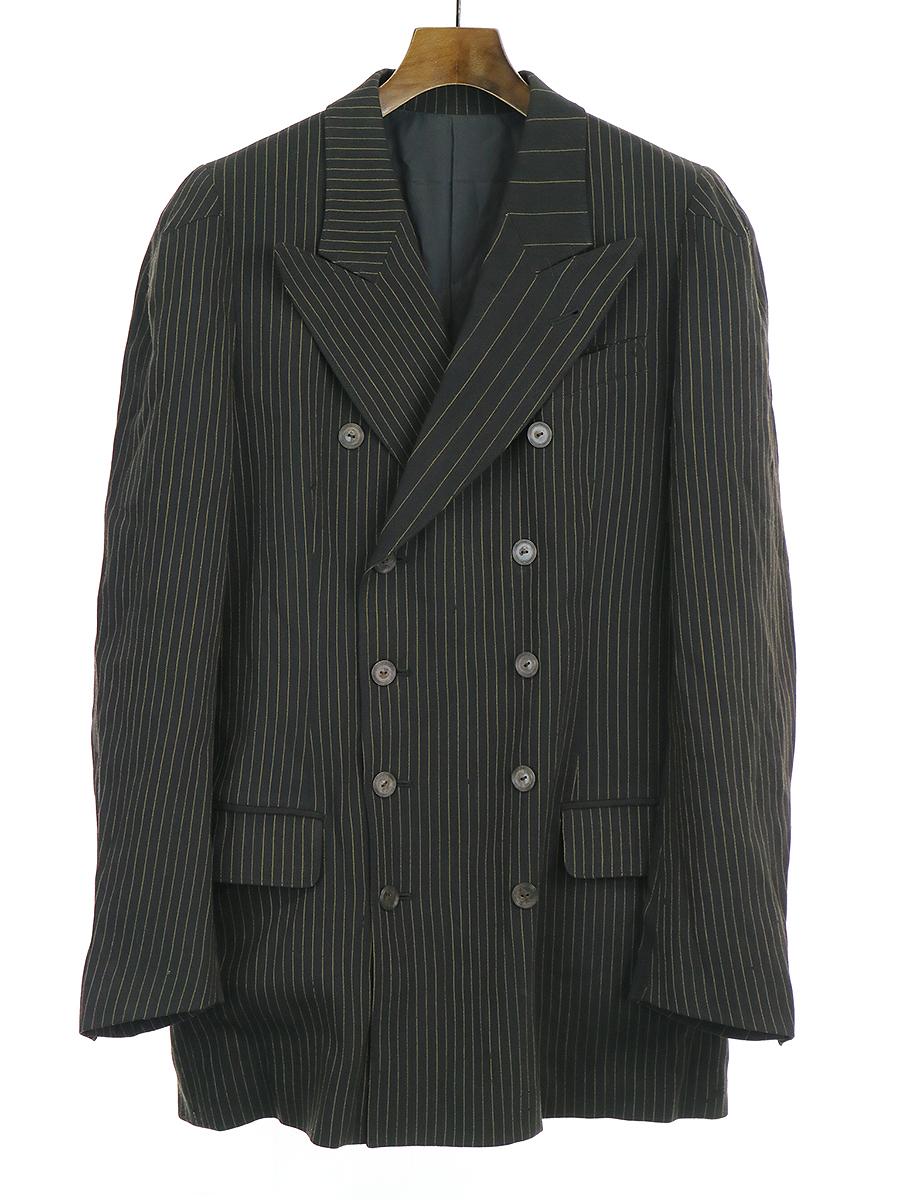 【中古】Jean Paul GAULTIER HOMME ジャンポールゴルチェ オム スイッチピッチストライプピークドラペルダブルブレストジャケット ブラック 48 メンズ