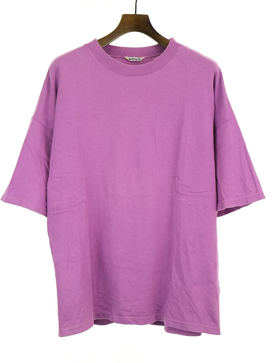【中古】AURALEE オーラリー 18SS SOFT CORD BIG TEE クルーネックTシャツ パープル 4 メンズ