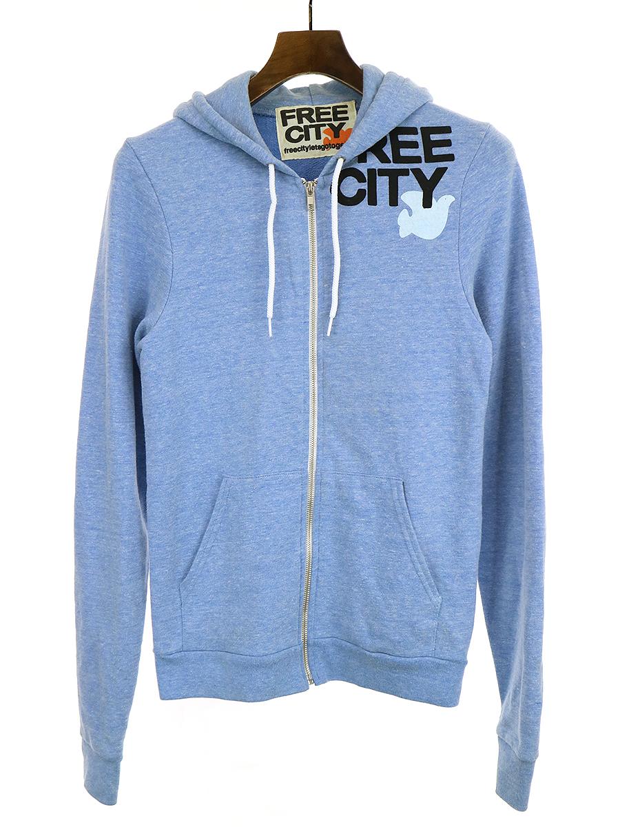 【中古】FREE CITY × American Apparel フリーシティ × アメリカンアパレル プリントジップアップパーカー ブルー S メンズ