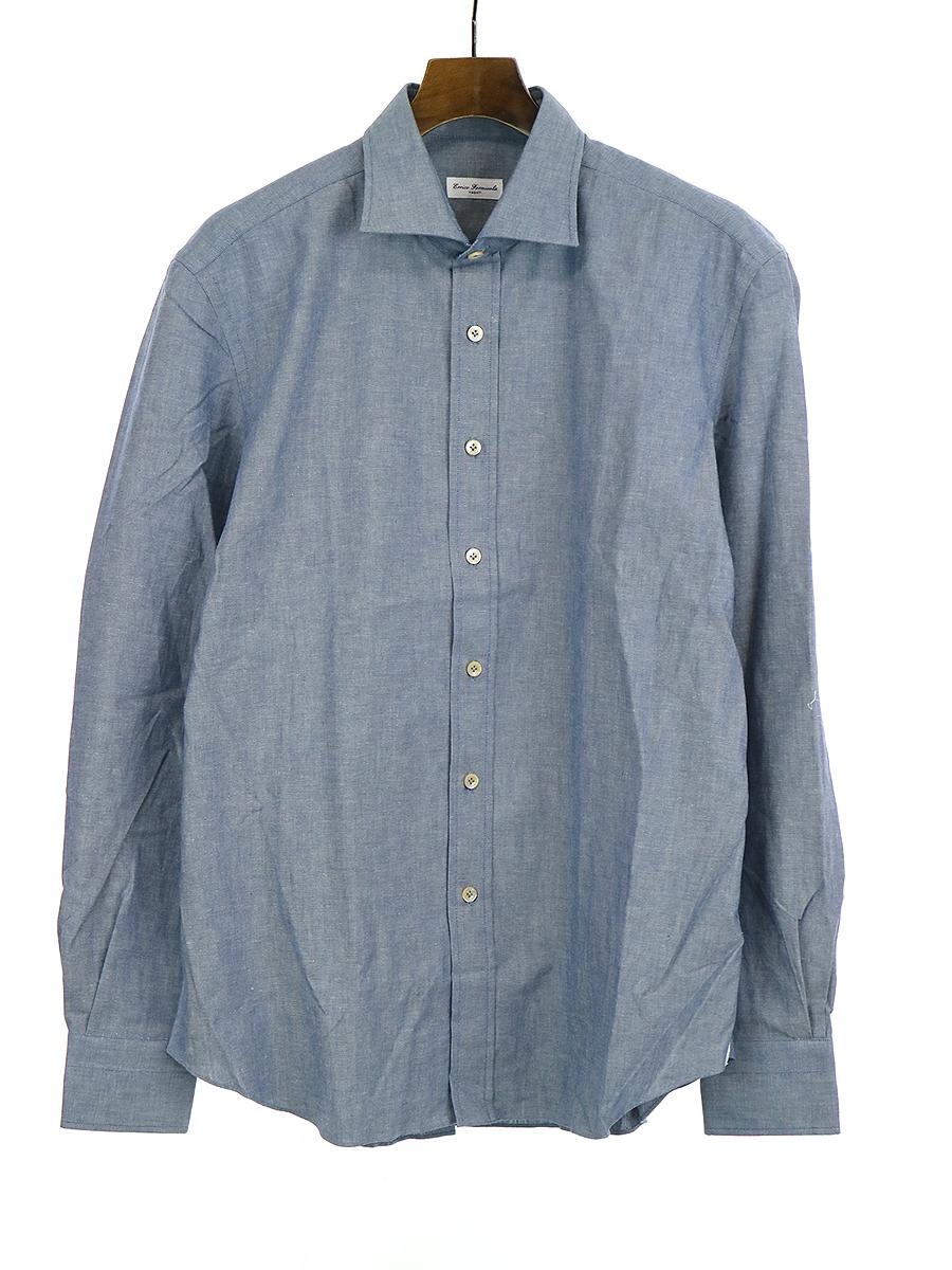 【中古】Errico Formicola エリコ フォルミコラ コットンドレスシャツ ブルー 41 メンズ