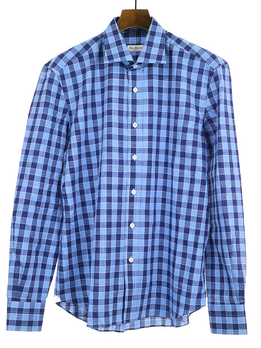 【中古】Errico Formicola エリコ フォルミコラ チェック柄コットンドレスシャツ ブルー 41 メンズ