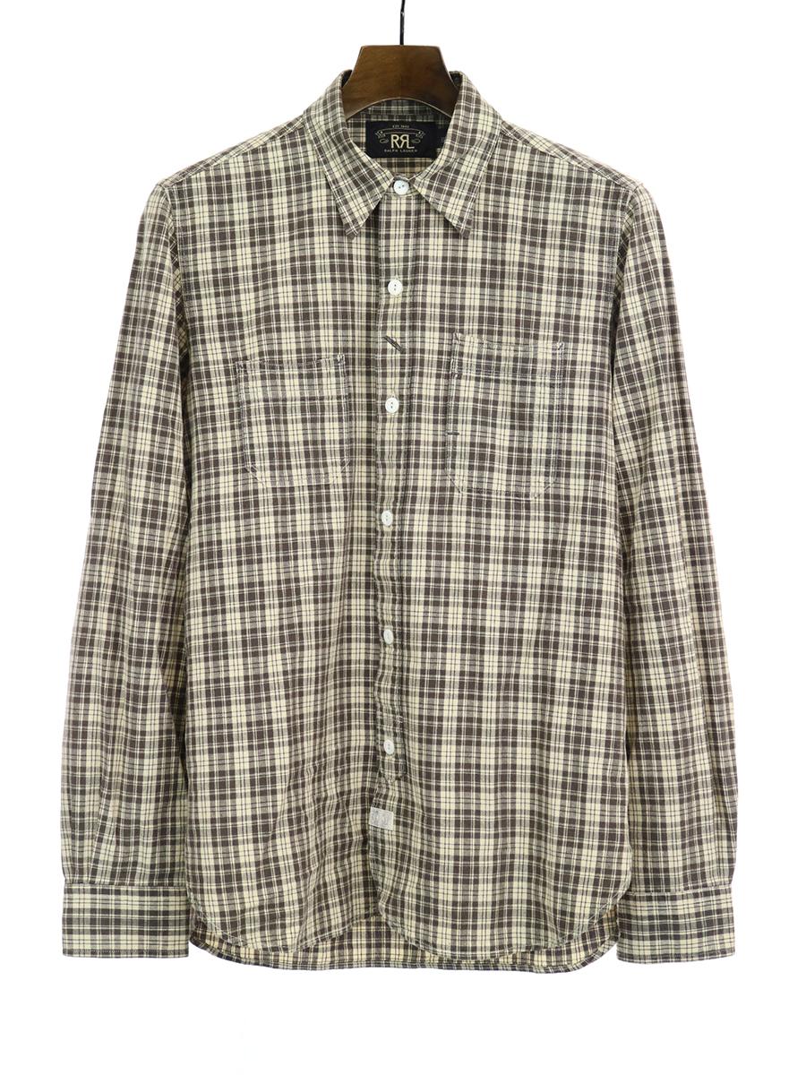 【中古】RRL ダブルアールエル チェック柄ワークミリタリーシャツ ブラウン S メンズ
