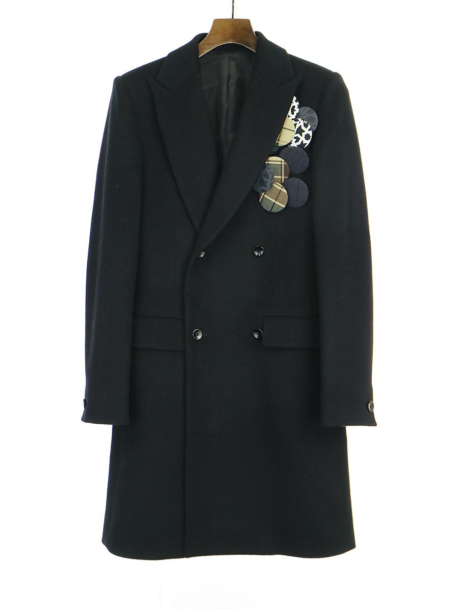 【中古】Milok ミロック 09AW カシミヤ混ボタン装飾ダブルチェスターコート ブラック S メンズ