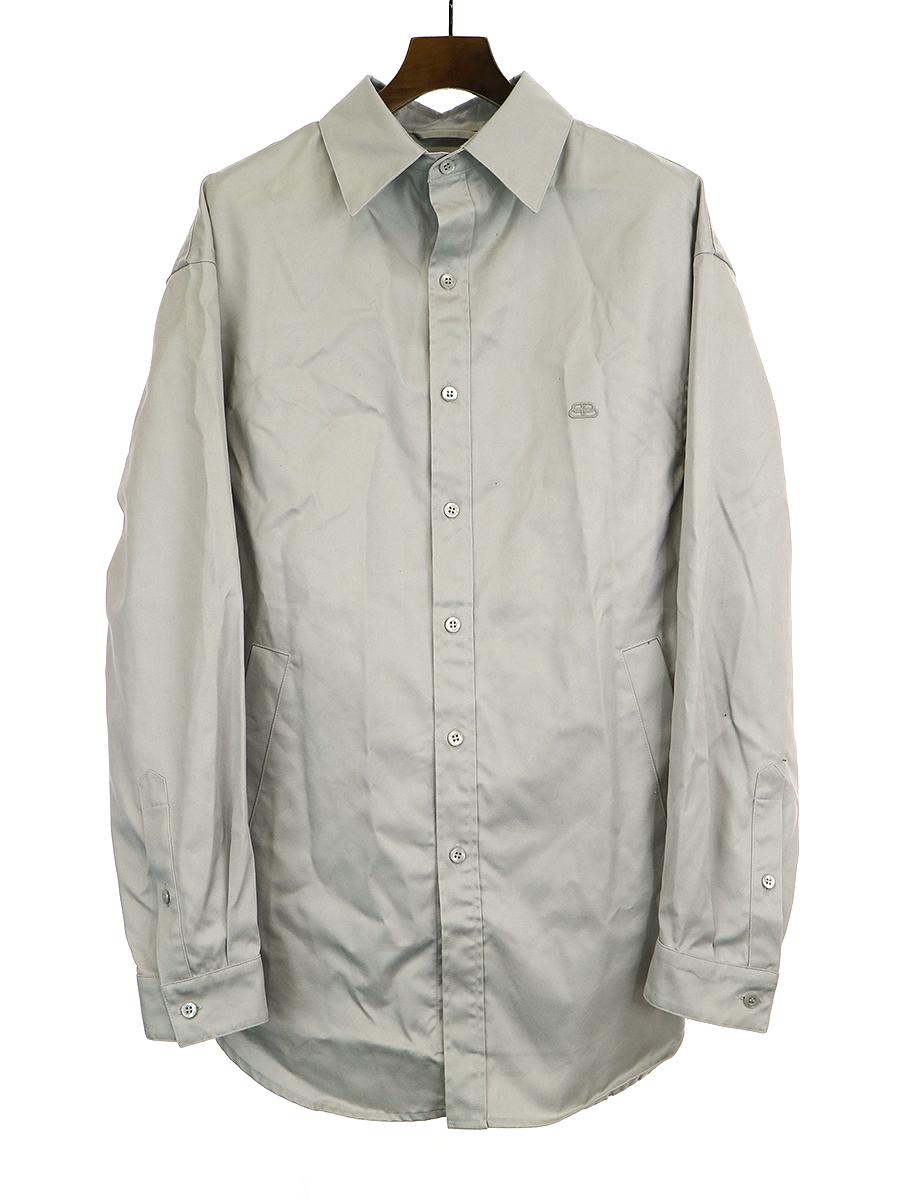 【中古】BALENCIAGA バレンシアガ 19SS LOOK55 ペイパリーコットンツイルティルトシャツ グレー 39 メンズ