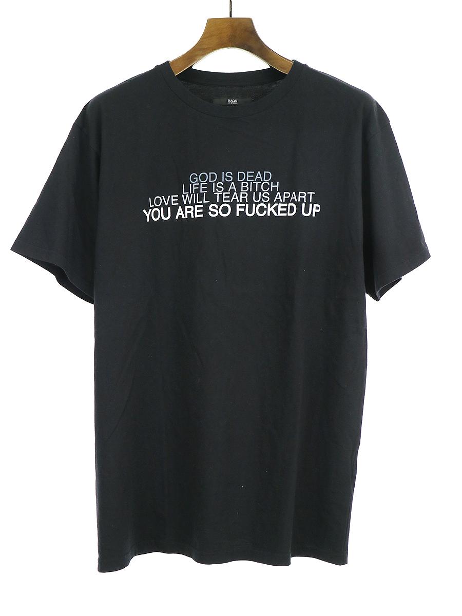 【中古】Rags McGREGOR ラグスマックレガー プリントTシャツ ブラック S メンズ