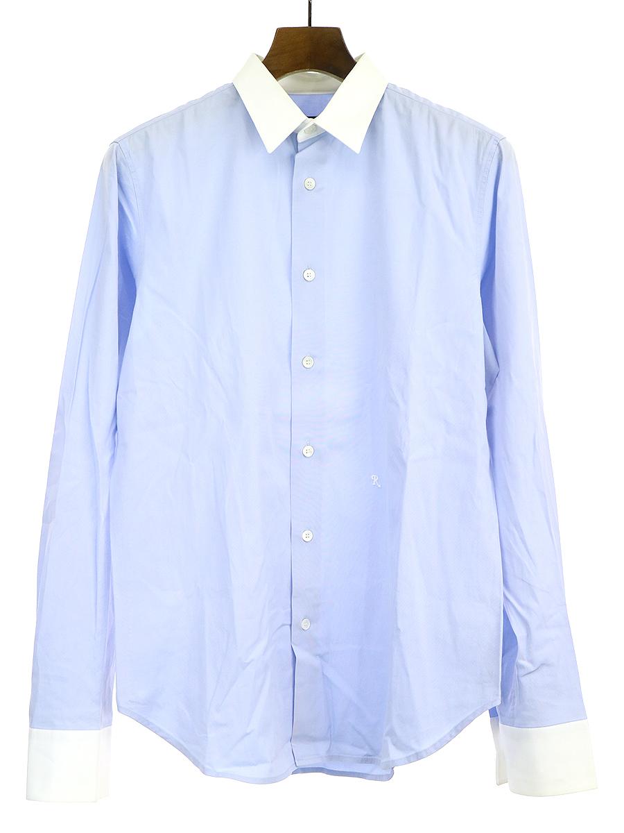 【中古】RAF SIMONS ラフシモンズ R刺繍クレリックシャツ ブルー 44 メンズ