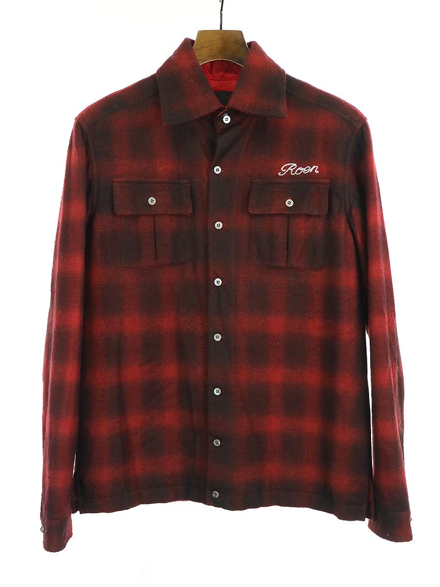 【中古】Roen ロエン 裏地キルティングウールレーヨンチェックシャツ レッド 46 メンズ