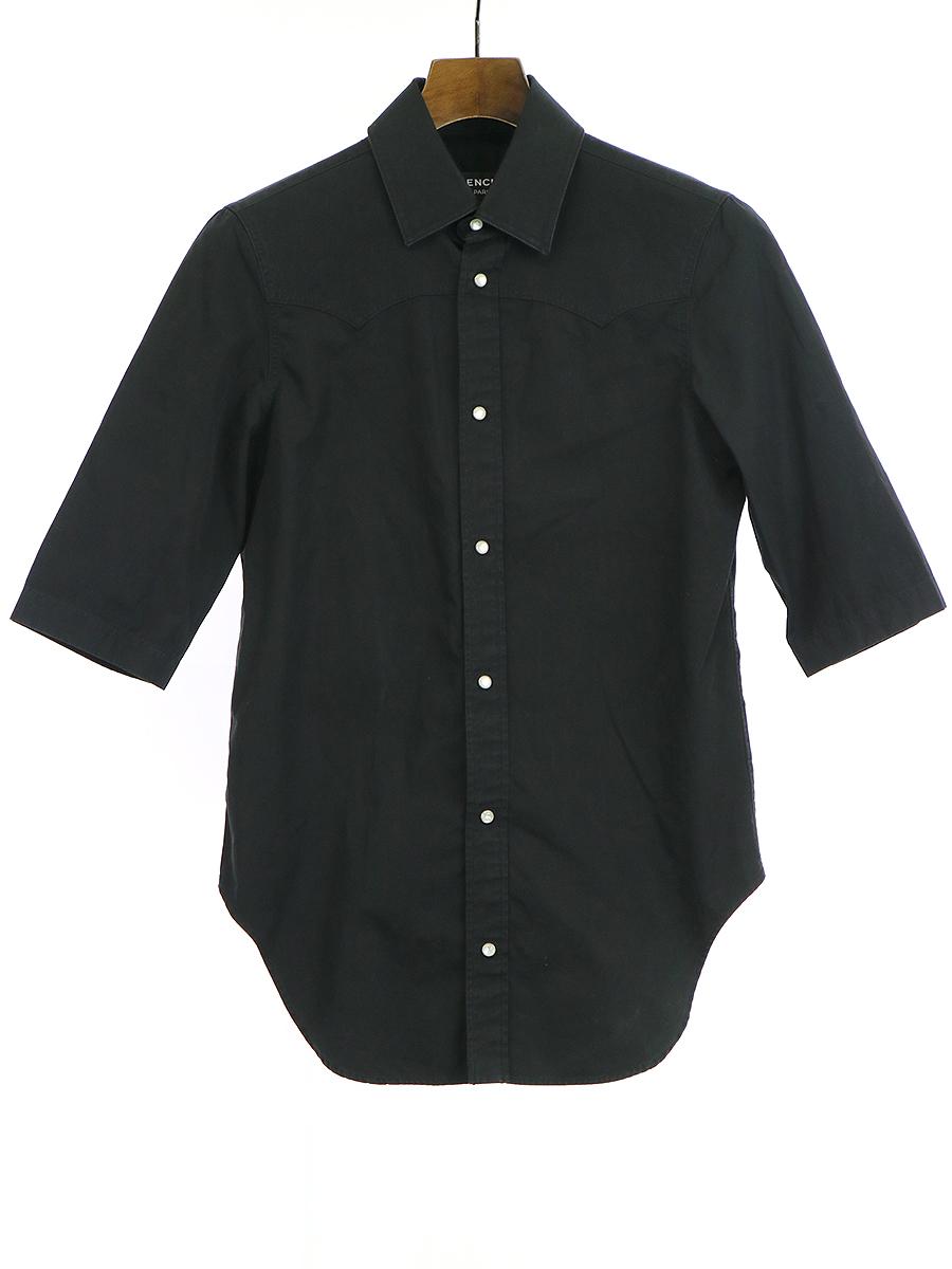 【中古】BALENCIAGA バレンシアガ 半袖ウエスタンシャツ ブラック 37 メンズ