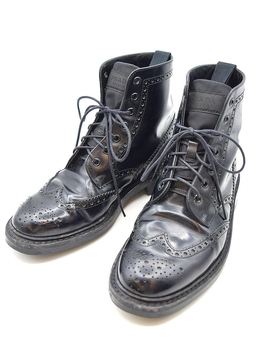 【中古】PRADA プラダ ウイングチップブーツ ブラック 6(25-25.5cm程度) メンズ