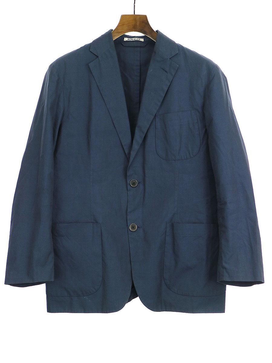 【中古】AURALEE オーラリー 16SS HIGH COUNT FINX CHAMBRAY JACKET ジャケット ネイビー 3 メンズ