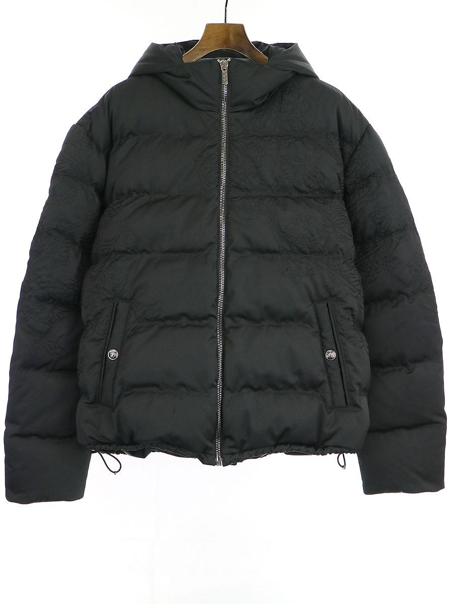 【中古】VERSACE ヴェルサーチ バロック柄刺繍フードダウンジャケット ブラック 54 メンズ