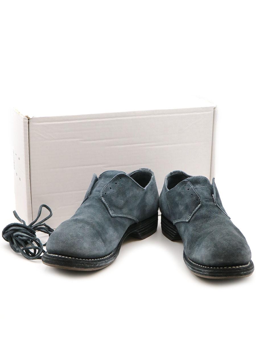 【中古】GUIDI グイディ 5302N BABY CALF REVERSE ARMY DERBY カーフスウェードレザーシューズ 短靴 グレー 42.5(27.5cm程度) メンズ