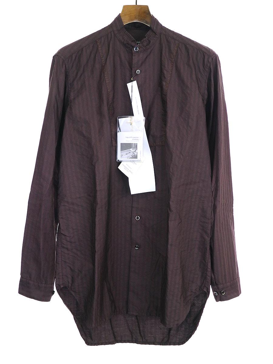 【中古】GEOFFREY B.SMALL ジェフリービースモール 1900's modified Bib-front band-collared Shirt ハンドステッチストライプ長袖シャツ パープル S メンズ