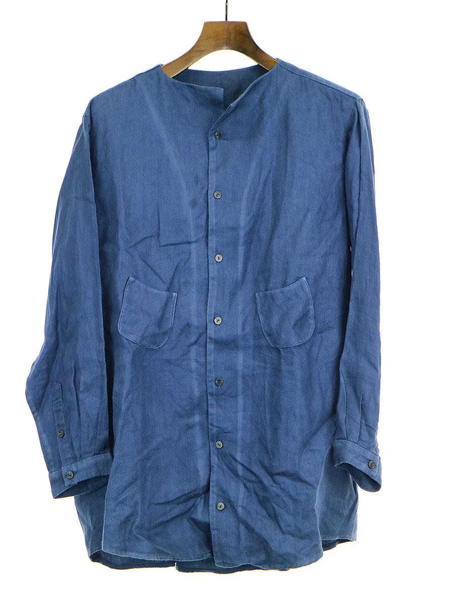 【中古】ka na ta カナタ ノーカラーリネンシャツジャケット ブルー 1 メンズ