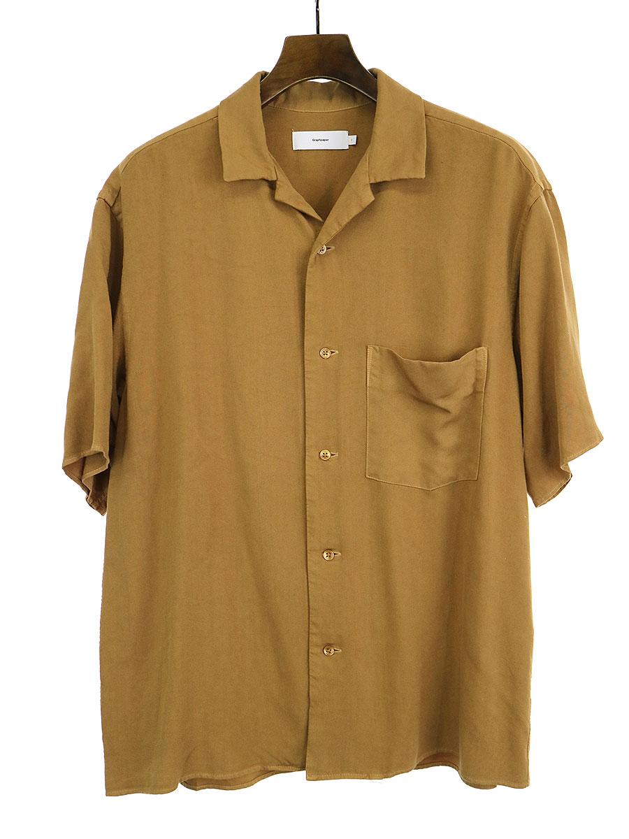 【中古】Graphpaper グラフペーパー 19SS SOFT CUPRO OPEN COLLAR SHIRT オープンカラーシャツ ブラウン 1 メンズ