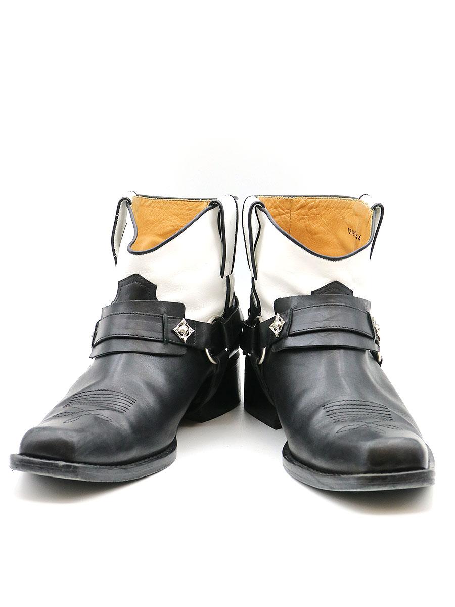 【中古】TOGA VIRILIS トーガ ビリリース 2トーンスクエアトゥアンクルレザーブーツ ブラック 44(29cm程度) メンズ