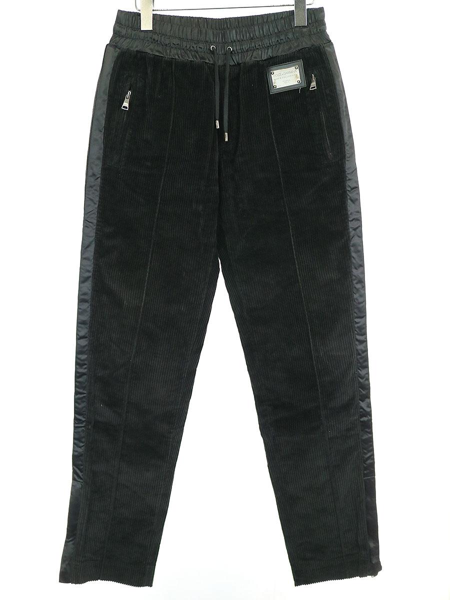 【中古】DOLCE&GABBANA ドルチェ&ガッバーナ コーデュロイトラックパンツ ブラック 44 メンズ