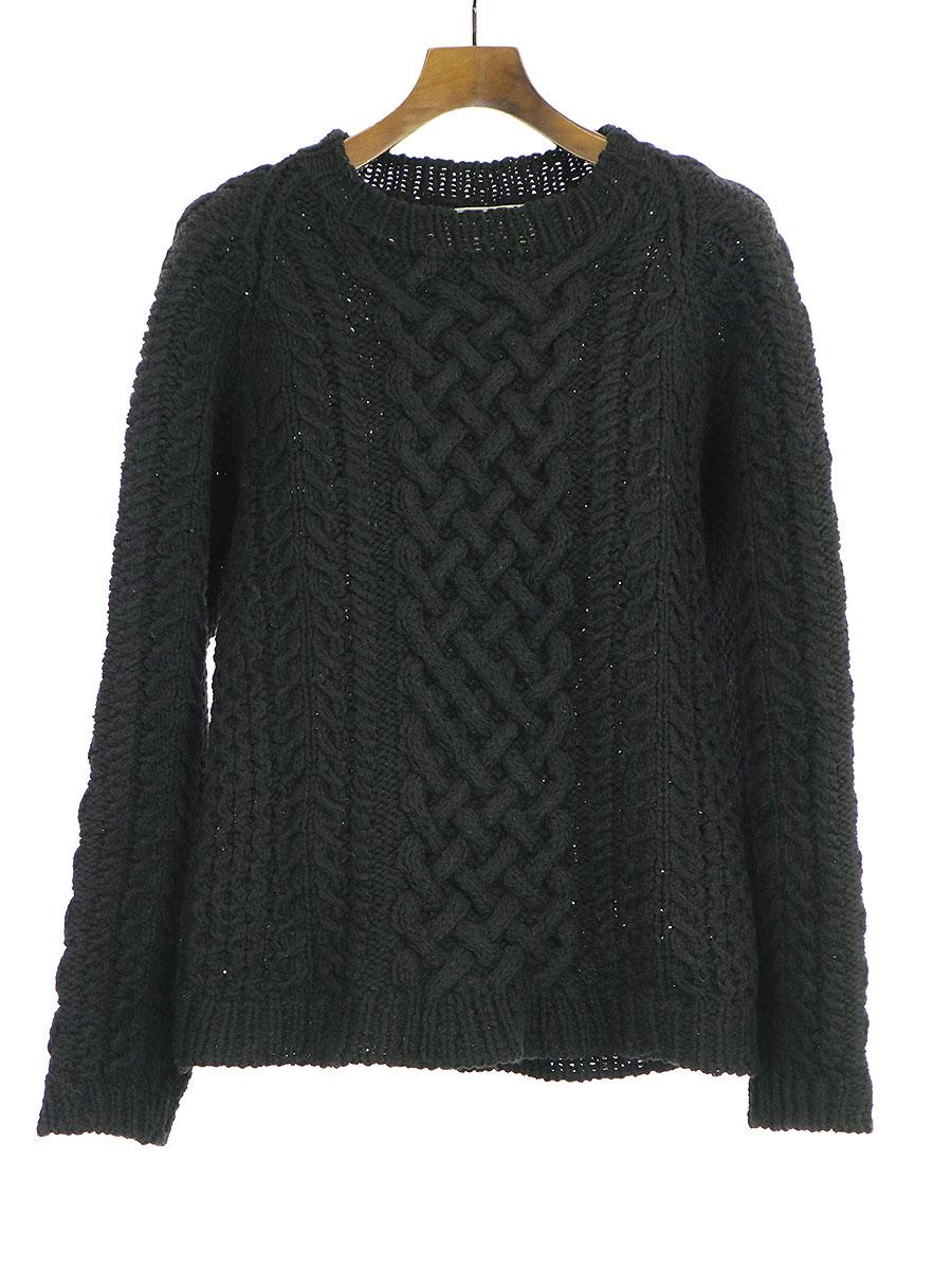 【中古】FRANKLIN TAILORED フランクリン テイラード 13AW Hand Knitting Aran Sweater ケーブル編みニットセーター ブラック 0 メンズ