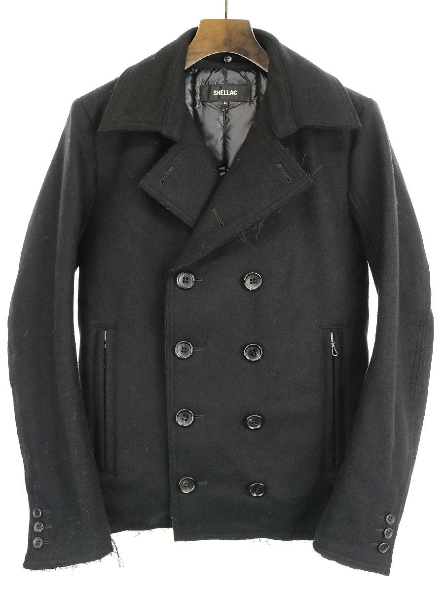【中古】SHELLAC シェラック 11AW ダウンライナー付きヘビーメルトンPコート ブラック 44 メンズ