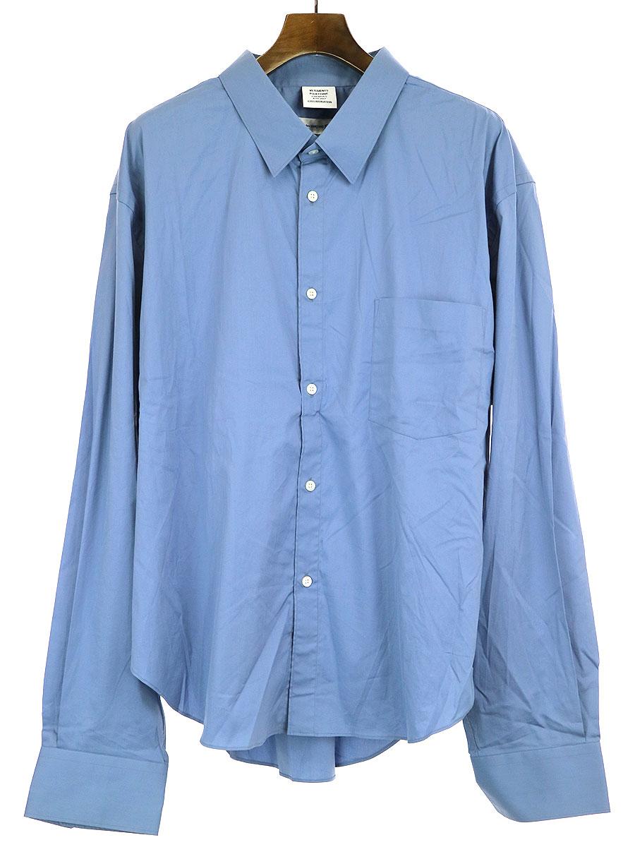 【中古】VETEMENTS×COMME des GARCONS SHIRT ヴェトモン×コムデギャルソンシャツ 17SSオーバーサイズシャツ ブルー L メンズ