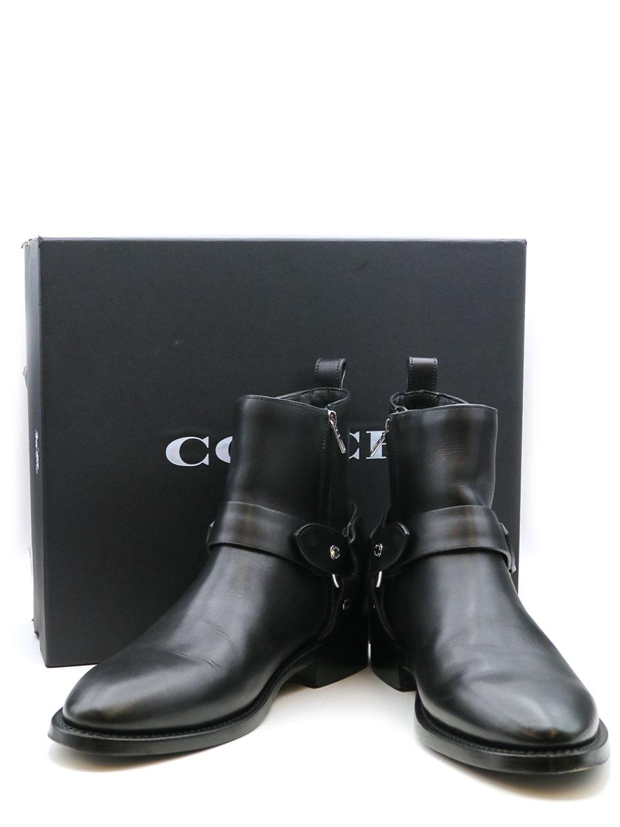 【中古】COACH コーチ レザーハーネスリングブーツ ブラック 26.5cm メンズ