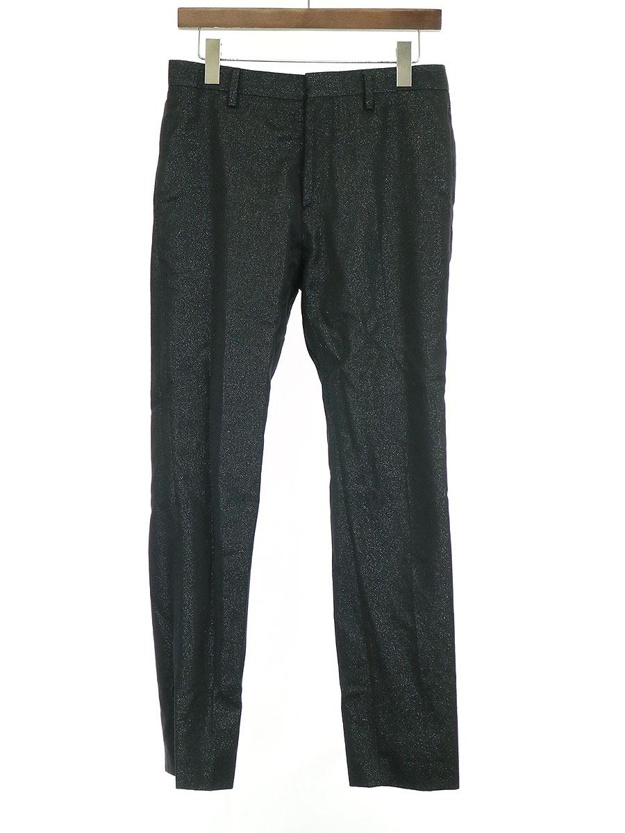 【中古】SAINT LAURENT PARIS サンローラン パリ 15AW Glitter Trousers グリッターラメウールスラックス パンツ ブラック 44 メンズ