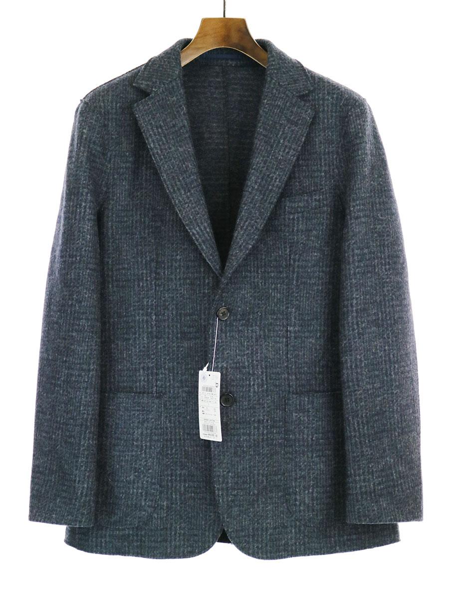 【中古】J.PRESS ジェイプレス 圧縮フラノジャージカットオフジャケット チャコールグレー L メンズ