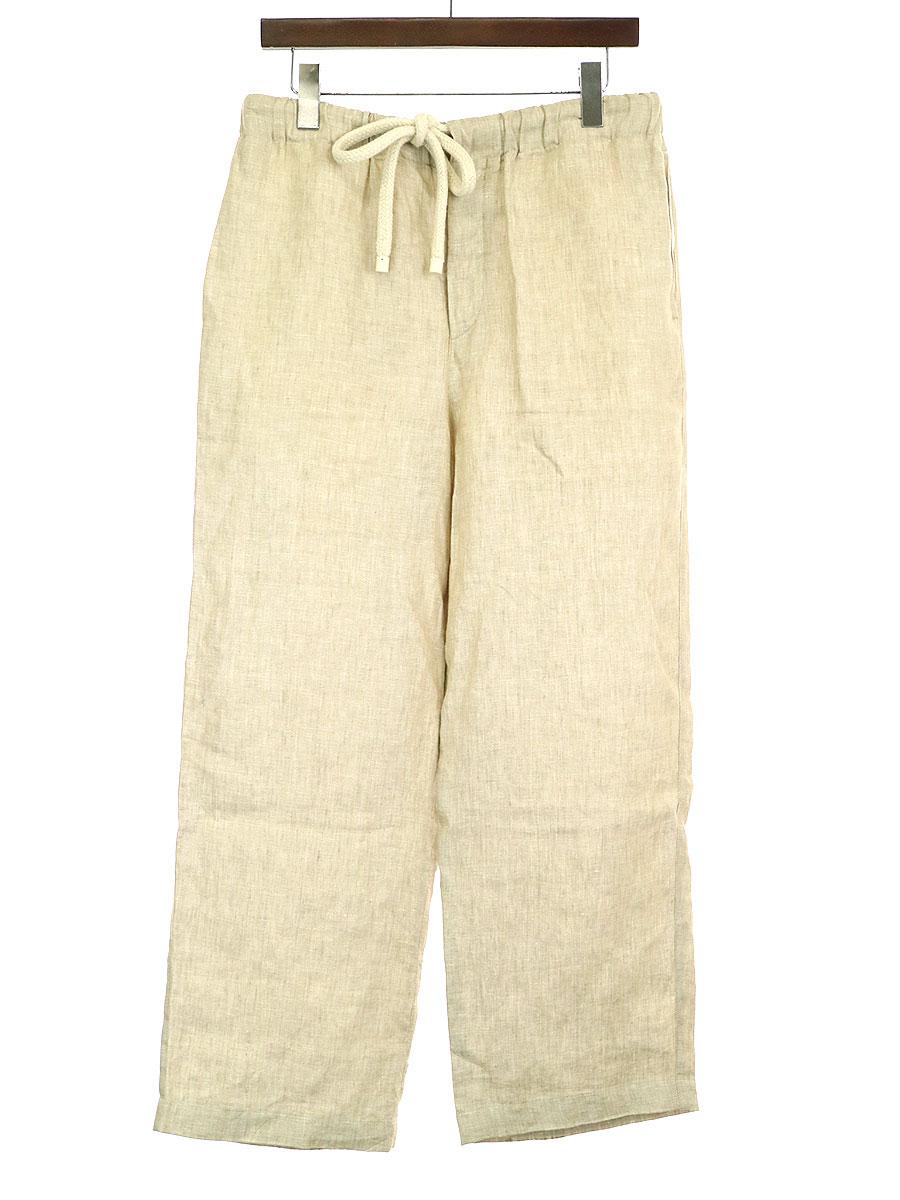 【中古】LOEWE ロエベ 19SS バッグロゴ刺繍リネンイージーパンツ ベージュ M メンズ