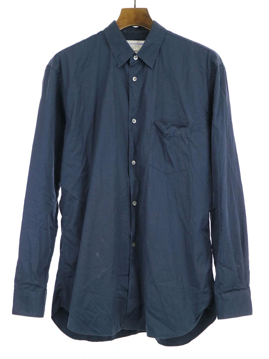 【中古】COMME des GARCONS SHIRT コムデギャルソン シャツ ワイドクラシックシャツ ネイビー M メンズ