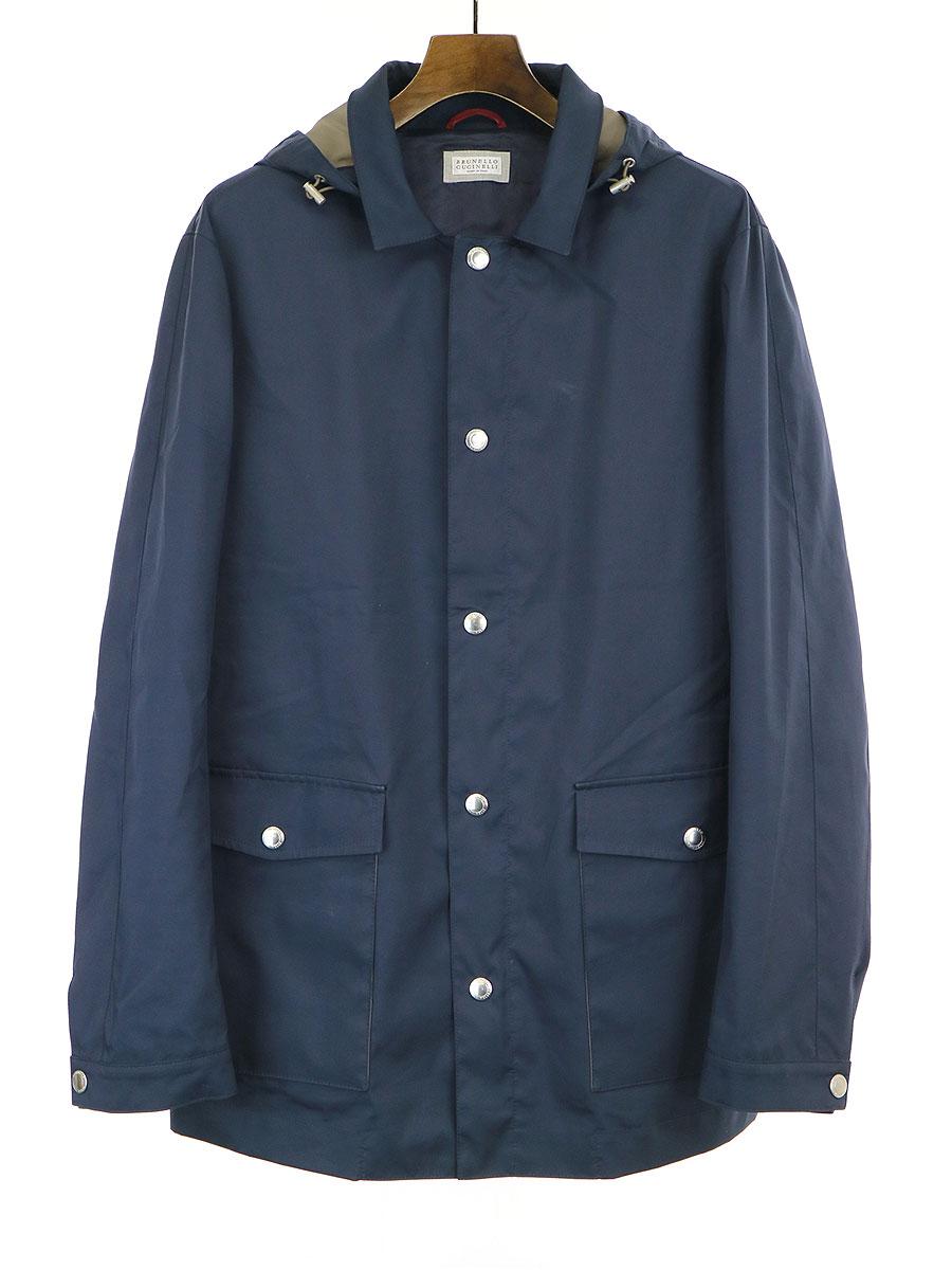 【中古】BRUNELLO CUCINELLI ブルネロクチネリ 撥水加工ジップアップフーデッドジャケットコート ネイビー 50 メンズ