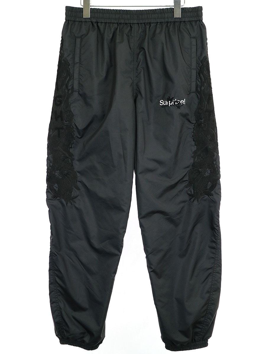 【中古】doublet ダブレット 19AW CHAOS EMBROIDERY TRACK PANTS カオス刺繍ナイロントラックパンツ チャコールグレー M メンズ