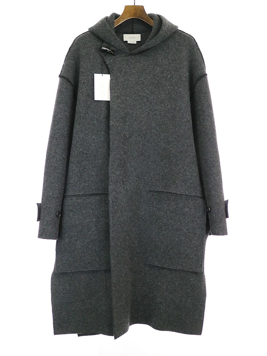 【中古】YOKE ヨーク 19AW CASHMERE MILANO RIB HOODED COAT コート チャコールグレー S メンズ