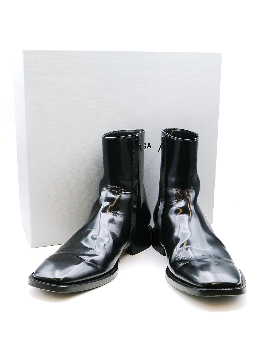 【中古】BALENCIAGA バレンシアガ LE.H BOOTS スクエアトゥサイドジップパテントレザーブーツ ブラック 42(27cm程度) メンズ