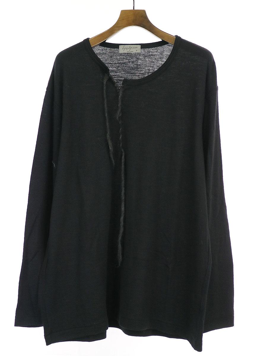 【中古】Yohji Yamamoto POUR HOMME ヨウジヤマモトプールオム 19AW 刺繍ウールニットロングスリーブカットソー ブラック 3 メンズ