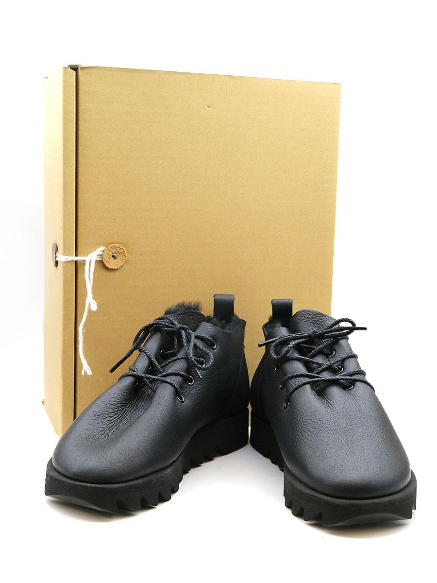 【中古】Hender Scheme エンダースキーマ MOUTON LACE マウンテンムートンレースシューズ ブラック 4(26~26.5cm程度) メンズ