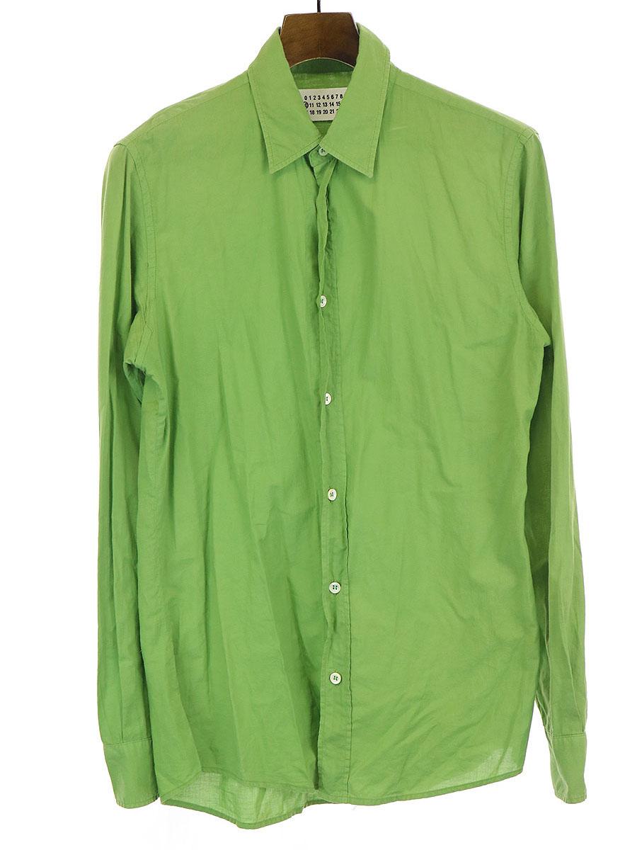 【中古】Maison Martin Margiela10 メゾンマルタンマルジェラ 10 コットン 長袖 シャツ グリーン 44 メンズ