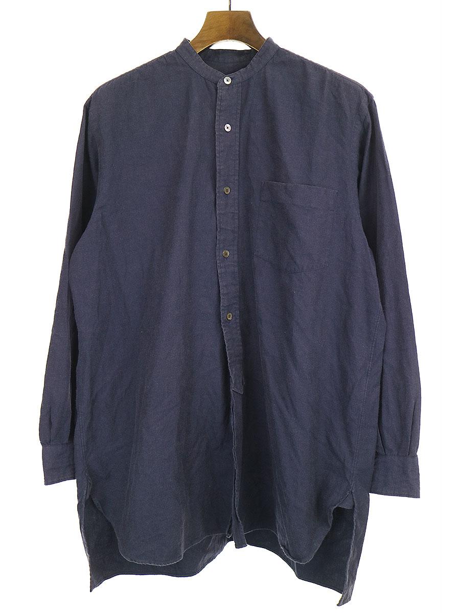 【中古】COMOLI コモリ 17AW コットンネル バンドカラーシャツ ネイビー 2 メンズ