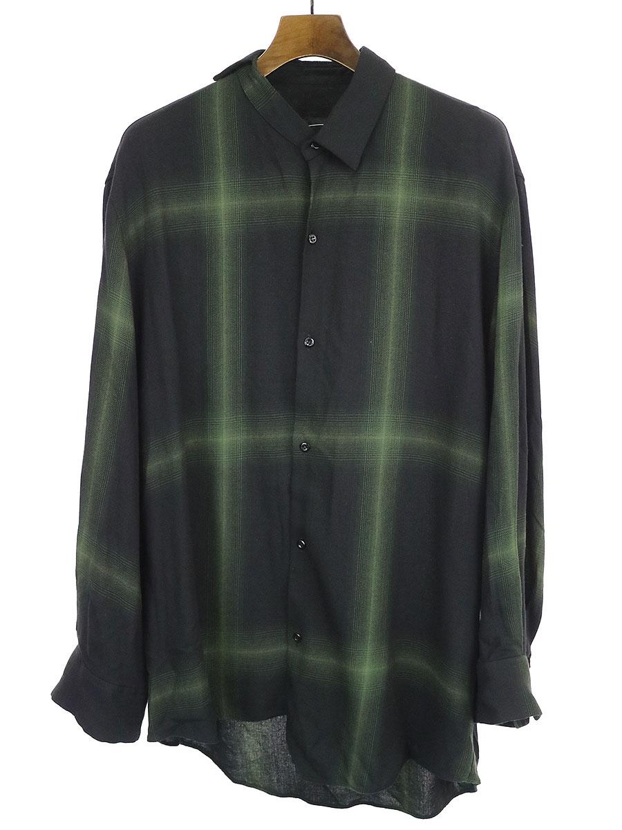 【中古】LAD MUSICIAN ラッドミュージシャン 19AW MODAL TWILL OMBRE CHECK ASYMMETRY SHIRT アシンメトリーシャツ ブラック×グリーン 42 メンズ
