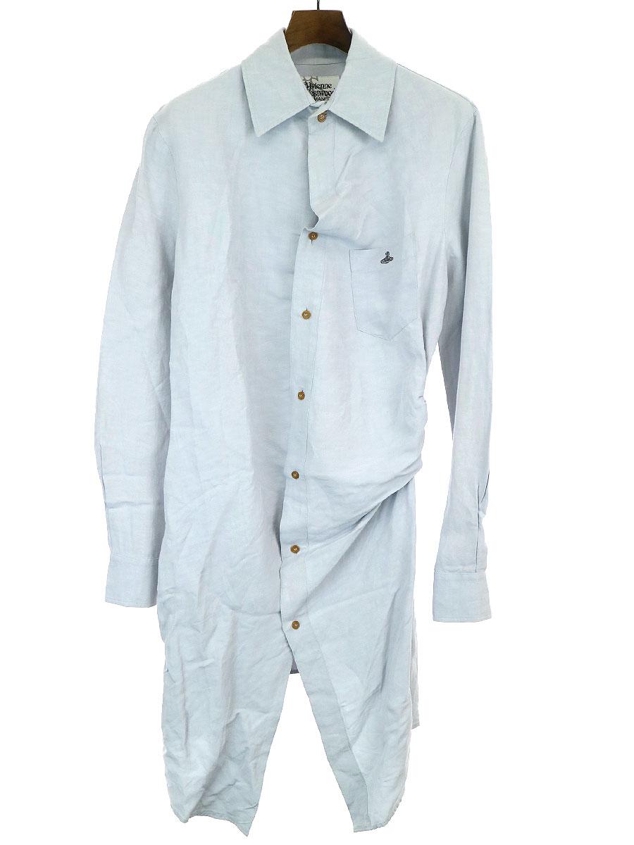 【中古】VivienneWestwood MAN ヴィヴィアンウエストウッド マン 15SS リネンレーヨンドレープロングシャツ ライトグレー 46 メンズ