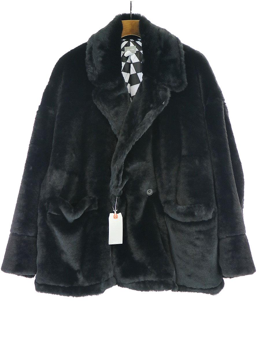 【中古】DELUXE デラックス 19AW DOWNY ポリエステルファーコートジャケット ブラック L メンズ