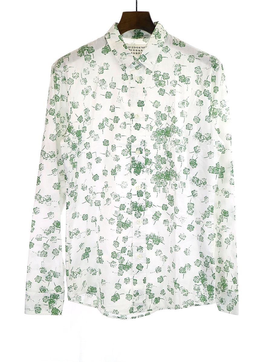 【中古】Maison Martin Margiela10 メゾンマルタンマルジェラ10 10SS ローズプリントレギュラーカラーシャツ ホワイト 44 メンズ
