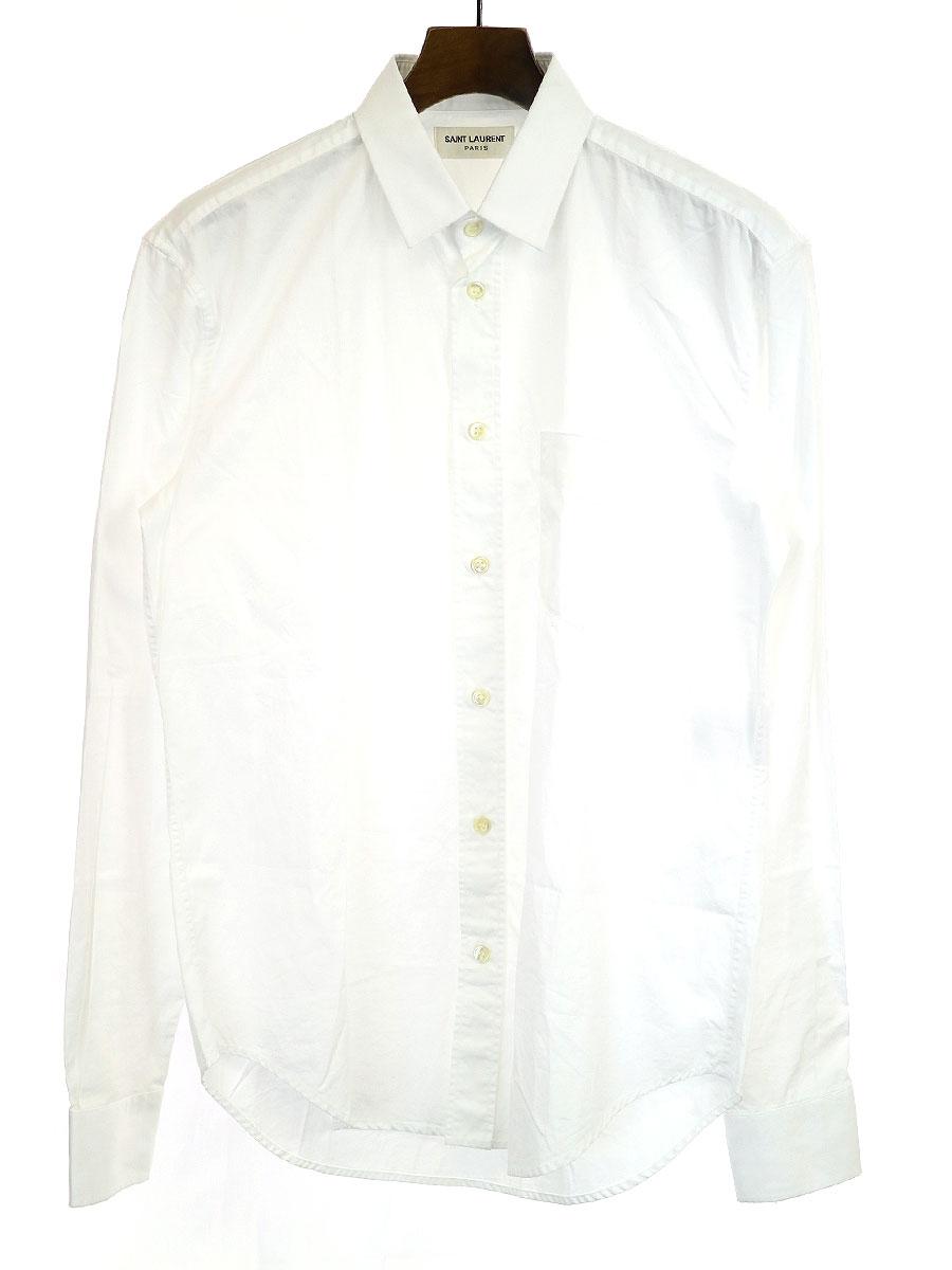 【中古】SAINT LAURENT PARIS サンローラン パリ 16SS ダメージ加工胸ポケットコットン長袖シャツ ホワイト 38 メンズ