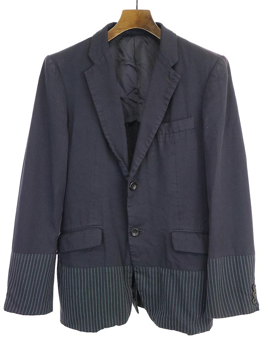 【中古】COMME des GARCONS HOMME コムデギャルソンオム 18SS ストライプ切替デザイン2Bテーラードジャケット ネイビー XS メンズ